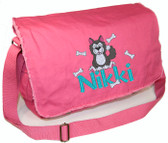 Personalized NIKKI Diaper Bag Font shown on diaper bag is ELIZABETH BLOCK
