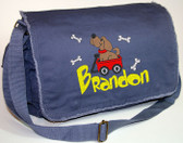 Personalized WAGON DOG Diaper Bag Font shown on diaper bag is DUPED