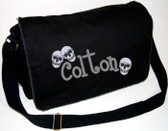 Personalized Skulls Diaper Bag Font shown on diaper bag is BOYZ