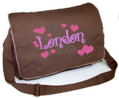 Personalized Diaper Bag with Initial & Hearts Font shown on diaper bag is BOING