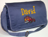 Personalized Firetruck Diaper Bag Font shown on bag is BOYZ