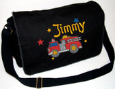 Personalized Firetruck Diaper Bag Font shown on bag is Serpentine