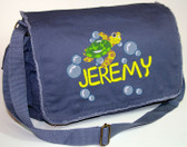 Personalized SEA TURTLE Diaper Bag Font shown on diaper bag is SCOOBY