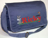 Personalized BABY BUNNY Diaper Bag Font shown on diaper bag is BILLY BLOCK