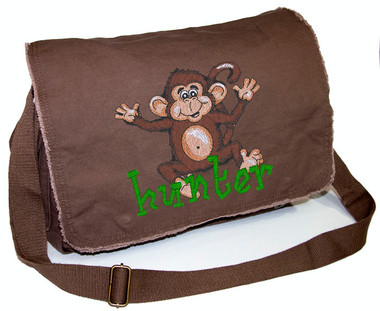 Personalized Diaper Bag For Or Boy Embroidered Large Monkey On Pigment Dyed Raw Edge