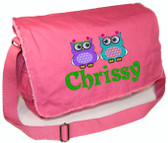 Personalized TWO OWLS Diaper Bag Font shown on diaper bag is MASALA