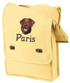 Chocolate Labrador Retriever Field Bag Personalized  - Embroidered Pigment-Dyed Canvas Field Bag