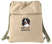 Bernese Mountain Dog Cinch Bag Font shown on bag is WESTERN BAR