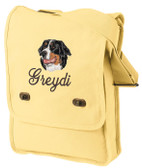 Bernese Mountain Dog Field Bag Font shown on bag is DIANA SCRIPT