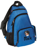 Bernese Mountain Dog Sling Pack Font Shown on Bag is STORYTIME