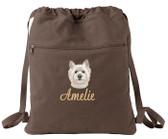 West Highland White Terrier Cinch Bag Font Shown on Bag is SCRIPT1