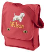 West Highland White Terrier Field Bag Font Shown on Bag is ROAD WARRIOR