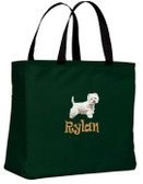 West Highland White Terrier Tote-Bag Font Shown on Bag is RAVEE