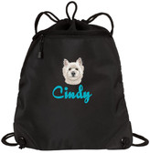 West Highland White Terrier Cinch Bag Font Shown on Bag is JOSEPHINE