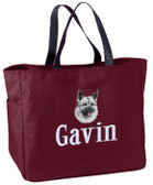 Norwegian Elkhound Tote Bag Font shown on bag is KANTORE