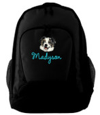 Australian Shepherd Backpack Font shown on bag is AMELIE