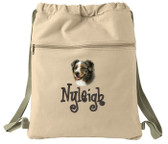 Australian Shepherd Cinch Bag Font shown on bag is BOING