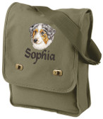 Australian Shepherd Field Bag Font shown on bag is ALPINE