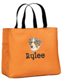 Australian Shepherd Tote Font shown on bag is ARGENTIA
