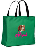 Cavalier King Charles Tote Font shown on bag is BRIDAL PATH
