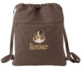 Shetland Sheepdog Cinch Bag Font shown on bag is APPLE BUTTER