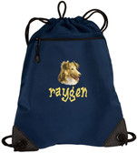 Shetland Sheepdog Sheltie Bag Font shown on bag is BEDROCK