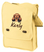 Dachshund Field Bag  Font shown on bag is DRIVE IN