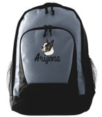 Boston Terrier Backpack Font shown on bag is INDUSTRIAL SCRIPT