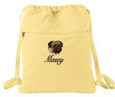 Pug Cinch Bag Font shown on bag is SNOW