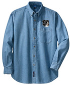 Border Collie Denim Shirt Front Left Chest