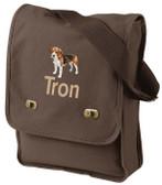 Beagle Field Bag Font shown on bag is BLOCK