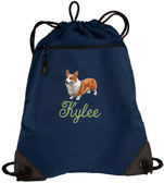 Corgi Cinch Bag Personalized  - Embroidered