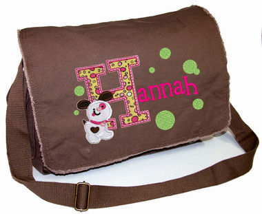 Personalized Applique Puppy Letter Diaper Bag Font used for name shown on diaper bag is IMPERVIOUS Font choice does not affect puppy letter