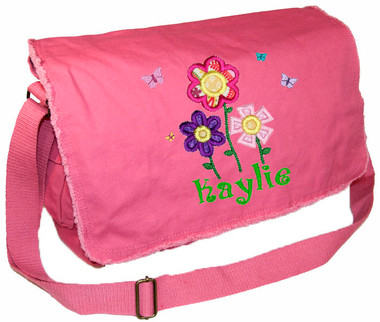 Personalized Flowers Diaper Bag Font shown on diaper bag is BOING