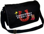 Personalized Horseshoe Applique Diaper Bag Font shown on bag above is WESTERN BAR