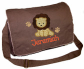 Personalized Applique Baby Monkey Diaper Bag Font shown on diaper bag is APPLE BUTTER