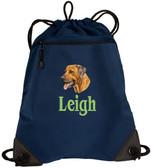 Rhodesian Ridgeback Cinch Bag Font shown on bag is BANQUET