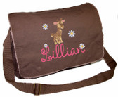 Personalized Giraffe Diaper Bag Font shown on diaper bag is AMELIE