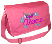 Personalized Stingrays Diaper Bag Font shown on diaper bag is REBECCA