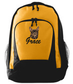 French Bulldog Backpack Font shown on bag is BRUSH SCRIPT