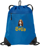 Basset Hound Cinch Bag Font shown on bag is PRIMARY SCHOOL