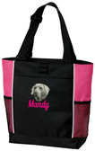Weimaraner Tote Font shown on bag is GUARD SCRIPT