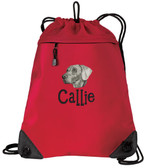 Weimaraner Cinch Bag Font shown on bag is IMPERVIOUS