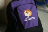 Pomeranian backpack Font shown on bag is ALLEGRA