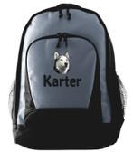 Siberian Husky Backpack Font shown on bag is ELIZABETH BLOCK
