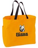 Siberian Husky Tote Font shown on bag is EDWARD