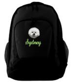 Bichon Frise Backpack Font shown on bag is LAVERNE
