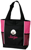 Bichon Frise Tote Font shown on bag is