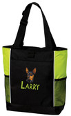 Miniature Pinscher Tote Font shown on bag is BEAR TRAP