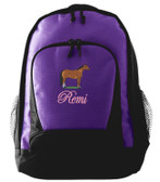 Quarter Horse Backpack Font shown on bag is EDWARD SCRIPT